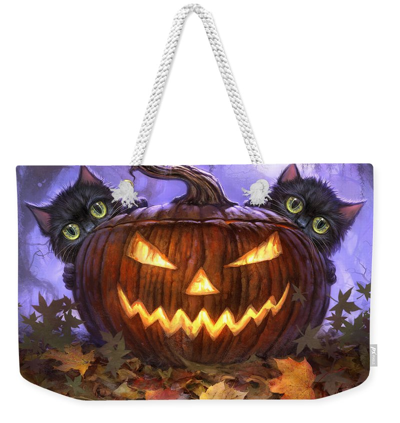 Cat Artwork. Cats Weekender Tote Bag featuring the painting Scaredy Cats by Jeff Haynie