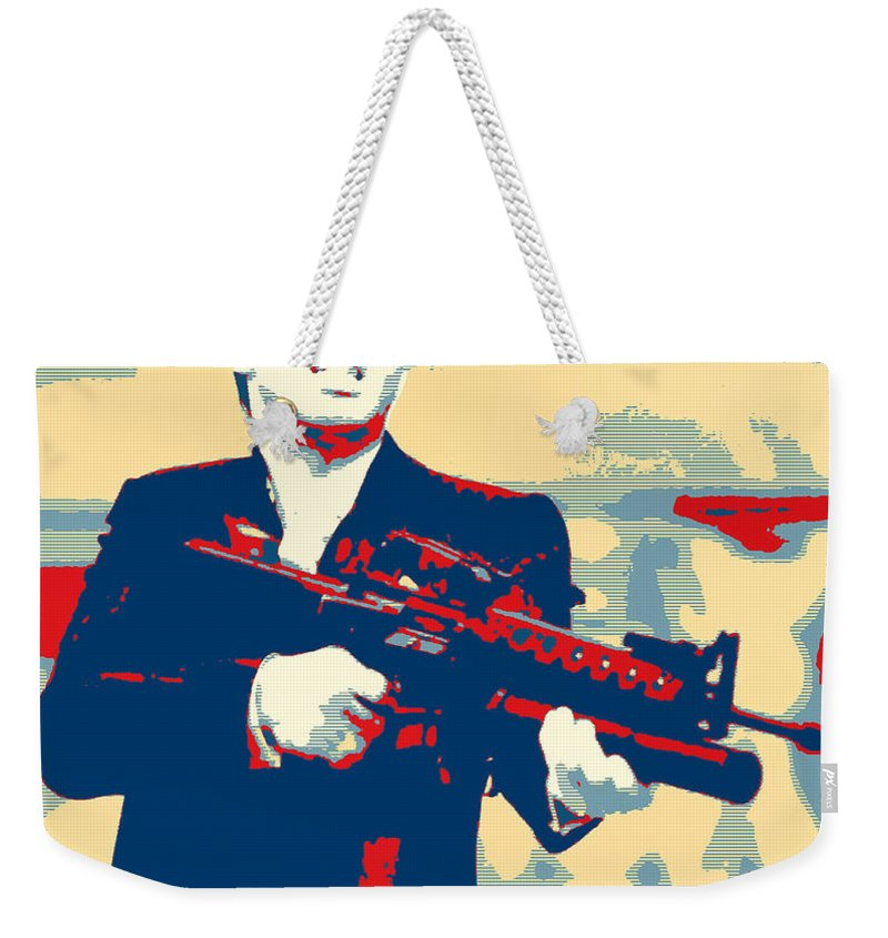 Pop Art Weekender Tote Bag featuring the mixed media Scarface by Dominic Piperata