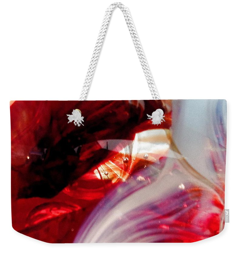 Glass Weekender Tote Bag featuring the photograph Scarlet Swirls Abstract by Angela Rath