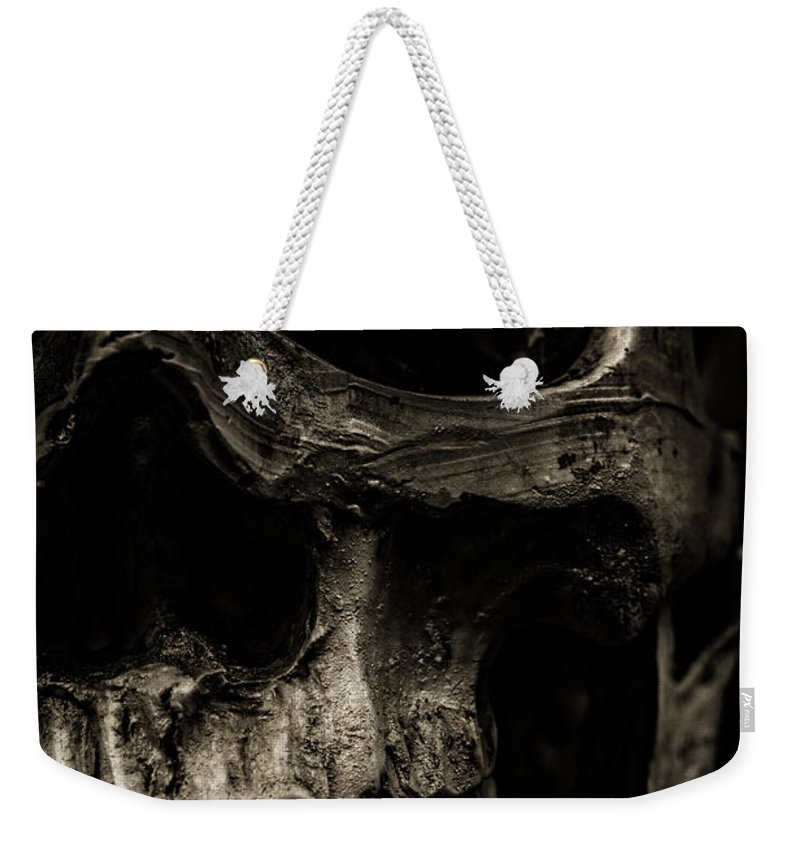 Still Life Weekender Tote Bag featuring the photograph Scary Skull by Edward Fielding