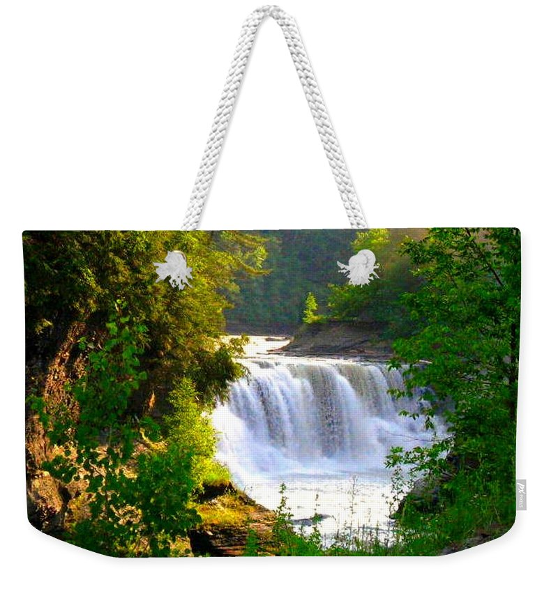 Falls Weekender Tote Bag featuring the photograph Scenic Falls by Rhonda Barrett