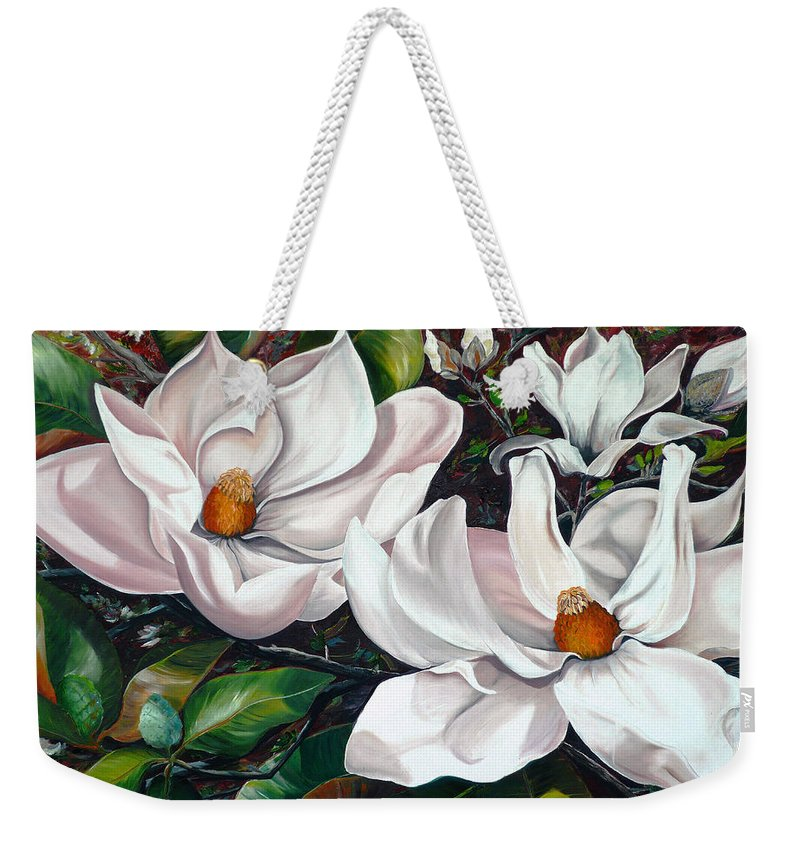 Magnolia Painting Flower Painting Botanical Painting Floral Painting Botanical Bloom Magnolia Flower White Flower Greeting Card Painting Weekender Tote Bag featuring the painting Scent Of The South. by Karin Dawn Kelshall- Best