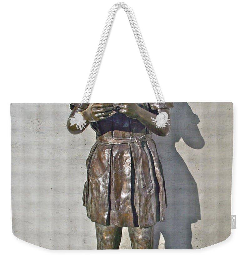School Girl Sculpture In Saint John's Weekender Tote Bag featuring the photograph School Girl Sculpture In Saint John's-nl by Ruth Hager