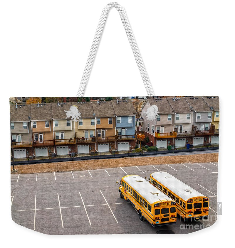 Bus Weekender Tote Bag featuring the photograph Schoolbuses And Colorful Houses - Atlanta - Georgia by Luciano Mortula