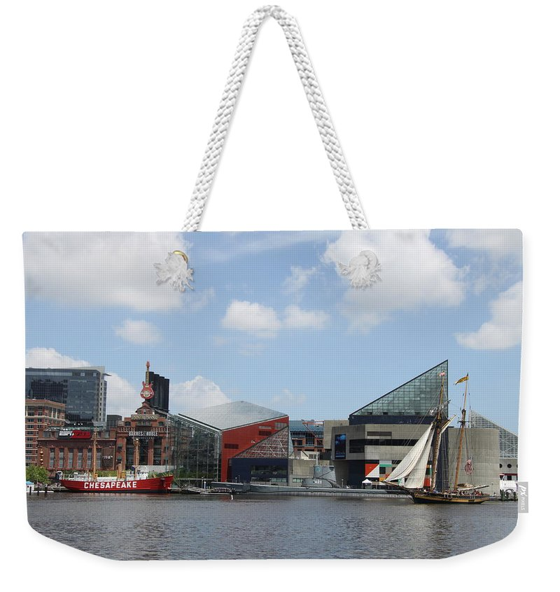 Sail Ship Weekender Tote Bag featuring the photograph Schooner Comming Back To Baltimore Harbor by Christiane Schulze Art And Photography