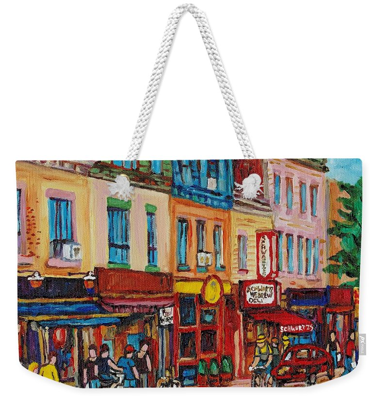Schwartz Deli Weekender Tote Bag featuring the painting Schwartzs Deli And Warshaw Fruit Store Montreal Landmarks On St Lawrence Street by Carole Spandau