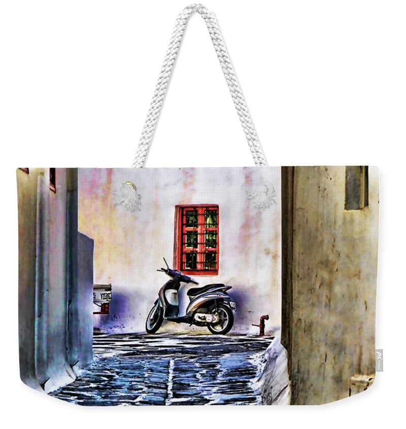 Greek Island Photo Weekender Tote Bag featuring the photograph Scooter Mykonos Greece by Tom Prendergast