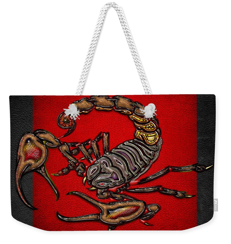 'beasts Creatures And Critters' Collection By Serge Averbukh Weekender Tote Bag featuring the digital art Scorpion On Red And Black Leather by Serge Averbukh