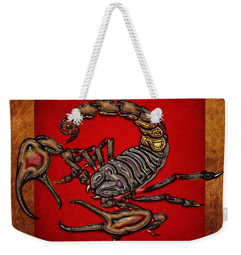 'beasts Creatures And Critters' Collection By Serge Averbukh Weekender Tote Bag featuring the digital art Scorpion On Red And Brown Leather by Serge Averbukh