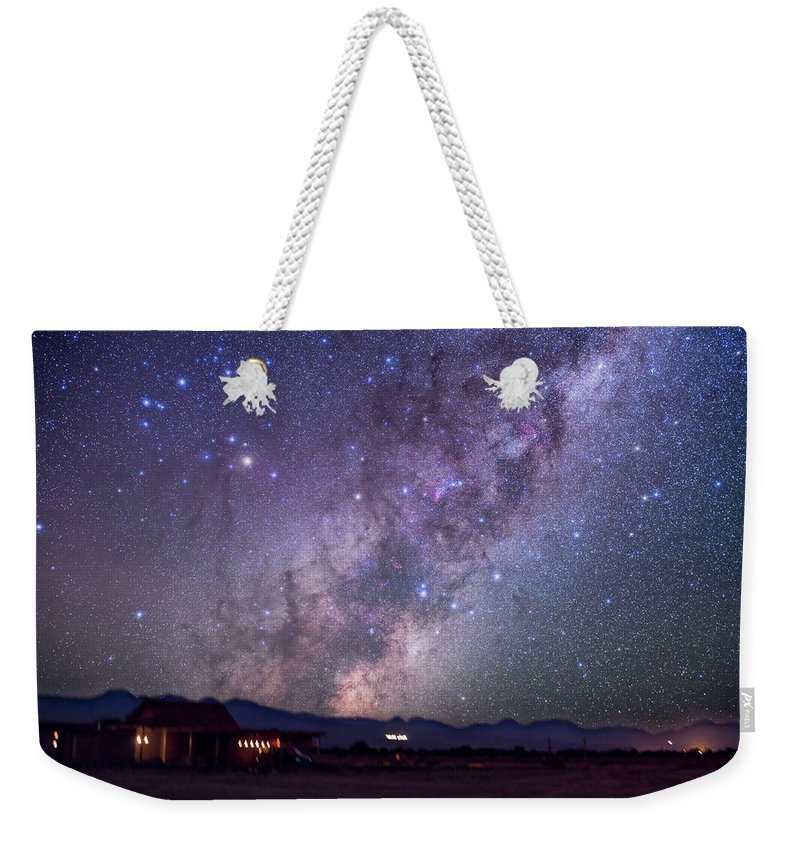 Alan Dyer Weekender Tote Bag featuring the photograph Scorpius Rising At Atacama Lodge by Alan Dyer