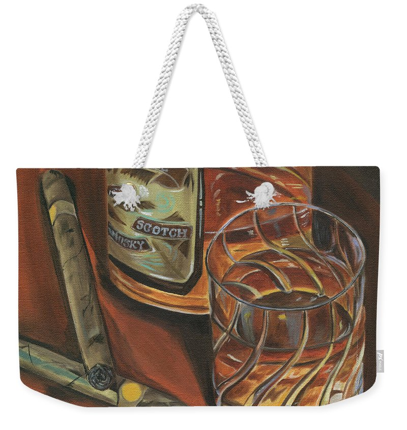 Scotch Weekender Tote Bag featuring the painting Scotch And Cigars 3 by Debbie DeWitt