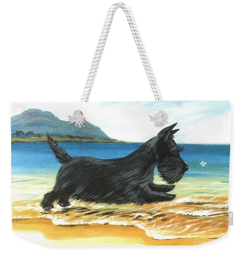 Painting Weekender Tote Bag featuring the painting Scottie At Play by Margaryta Yermolayeva