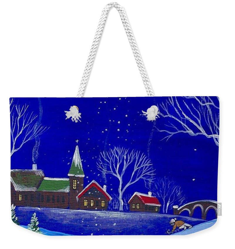 Scottish Terrier Weekender Tote Bag featuring the painting Scottie Sleigh Ride by Margaryta Yermolayeva