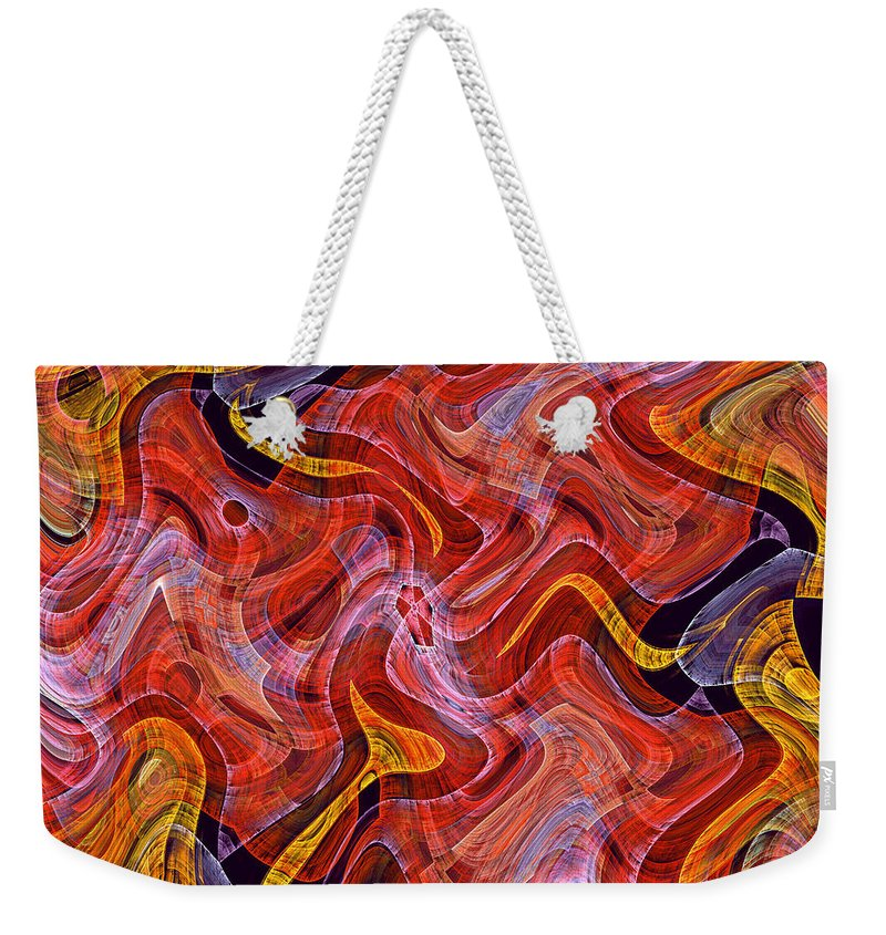 Scottish Art Scottland Texture Color Colorful Abstract Yellow Red Checkered Expressionism Impressionism Fractal Painting Weekender Tote Bag featuring the painting Scottish Two by Steve K