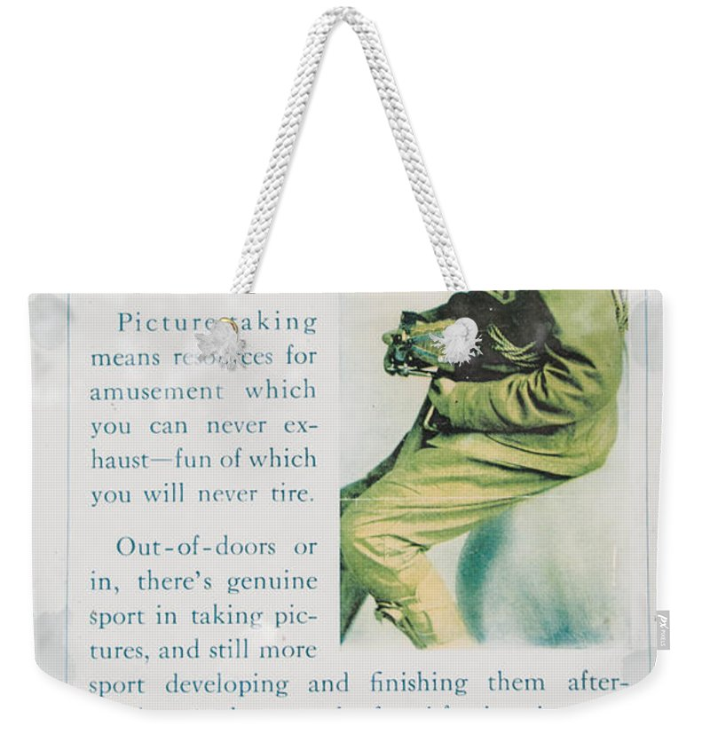 Camera Ad Weekender Tote Bag featuring the photograph Scout With A Camera by Guy Whiteley