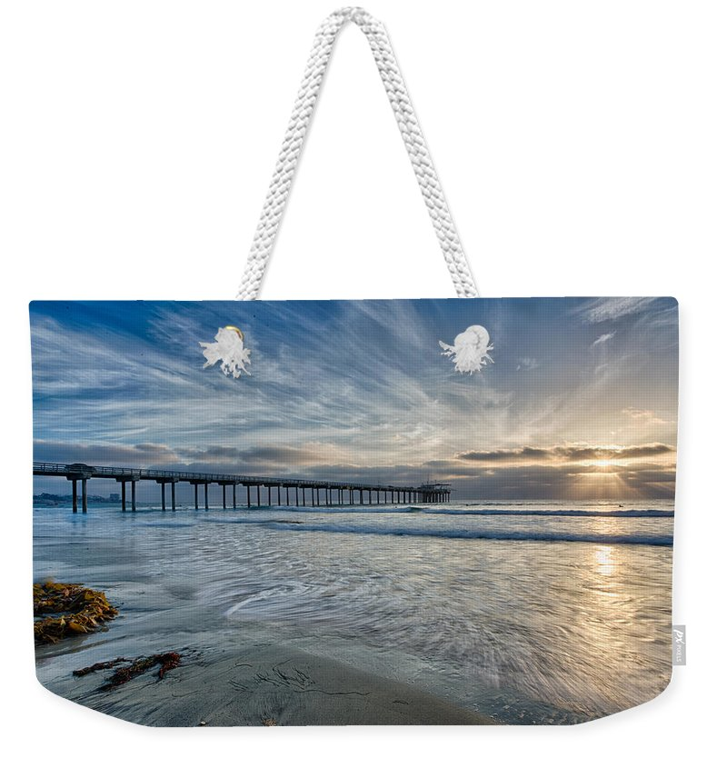 Architecture Weekender Tote Bag featuring the photograph Scripps Pier Sky And Motion by Peter Tellone