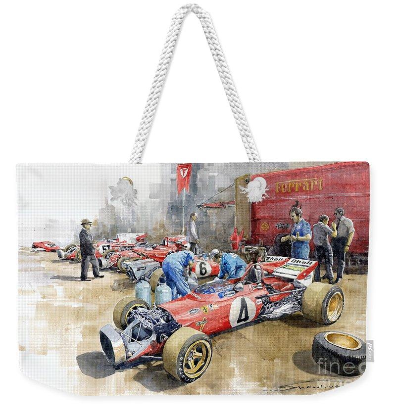Automotive Weekender Tote Bag featuring the painting Scuderia Ferrari Paddock Spanish Gp 1971 Ferrari 312b2 by Yuriy Shevchuk