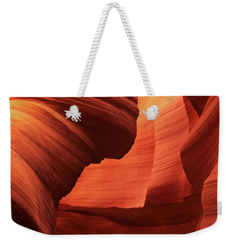 North America Weekender Tote Bag featuring the photograph Sculpted Sandstone Upper Antelope Slot Canyon Arizona by Dave Welling