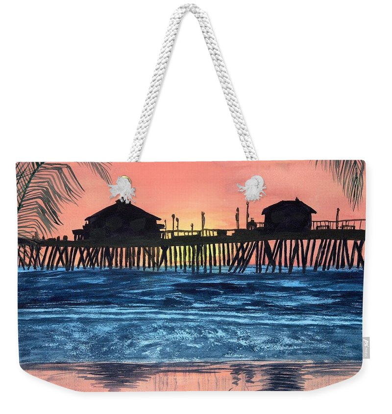 Tropical Weekender Tote Bag featuring the painting Sd Dock At Sunset by Kathy Przepadlo