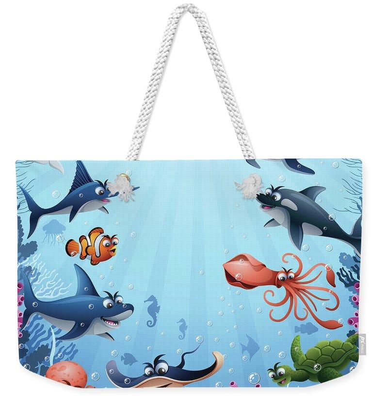 Underwater Weekender Tote Bag featuring the digital art Sea Animals by Alonzodesign