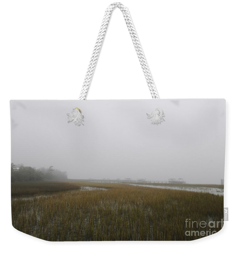 Fog Weekender Tote Bag featuring the photograph Wando River Sea Fog by Dale Powell