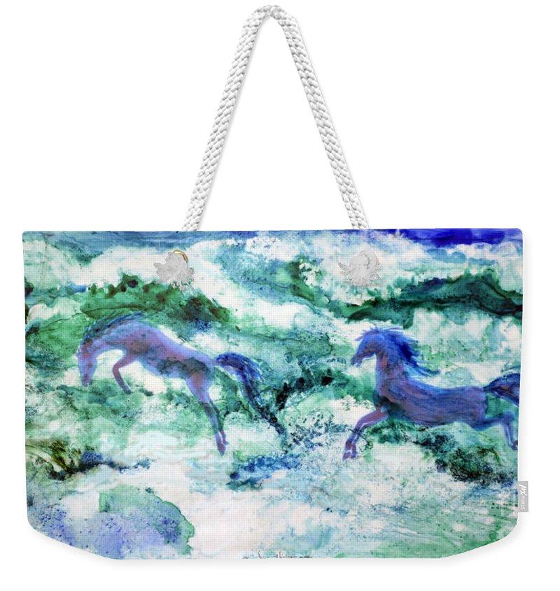 Watercolor Weekender Tote Bag featuring the painting Sea Horses by Joan Hartenstein