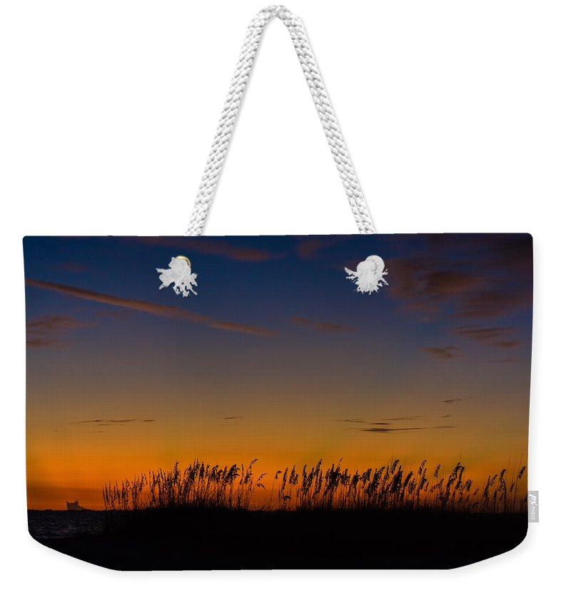 Beach Weekender Tote Bag featuring the photograph Sea Oats At Twilight by Ed Gleichman
