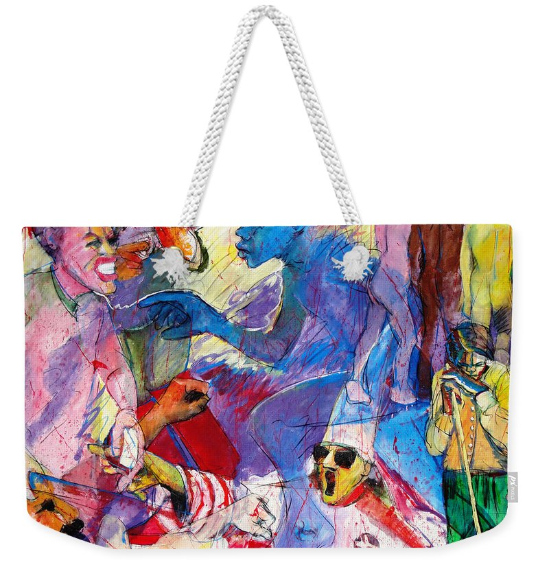 Hate Weekender Tote Bag featuring the painting Sea Of Hate by Charles M Williams