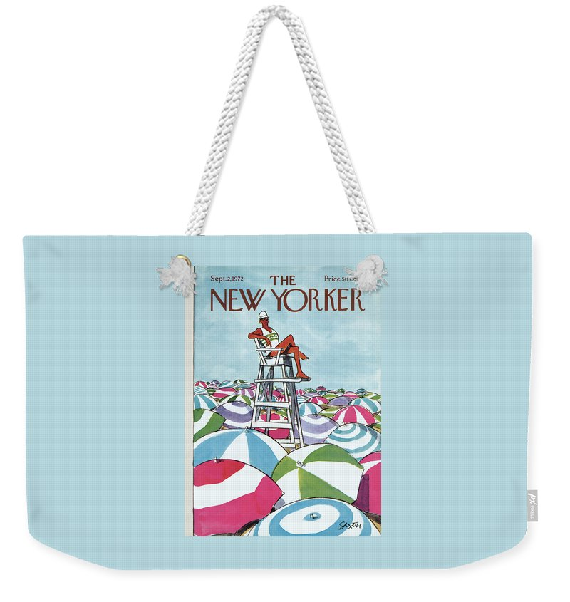 Charles Saxon Weekender Tote Bag featuring the painting Sea Of Umbrellas by Charles Saxon