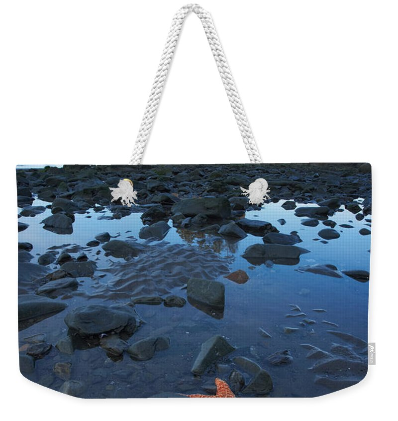 Nature Weekender Tote Bag featuring the photograph Sea Stacks And Star Fish by Byron Jorjorian