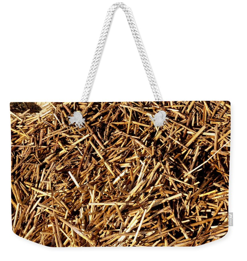 Grass Weekender Tote Bag featuring the photograph Sea Straw by Deborah Crew-Johnson