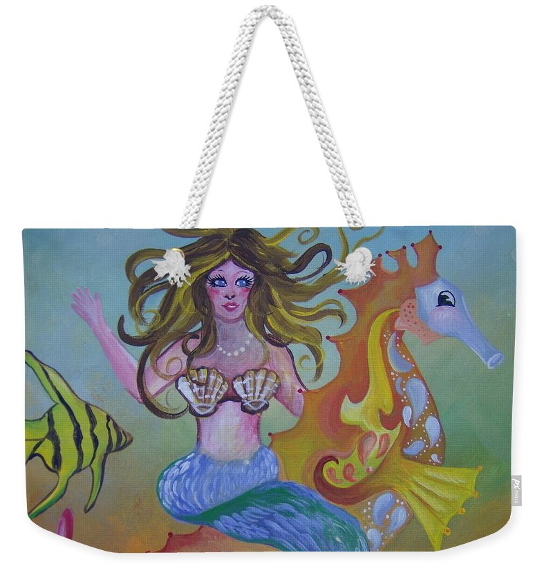 Seahorse Weekender Tote Bag featuring the painting Sea Taxi by Leslie Manley