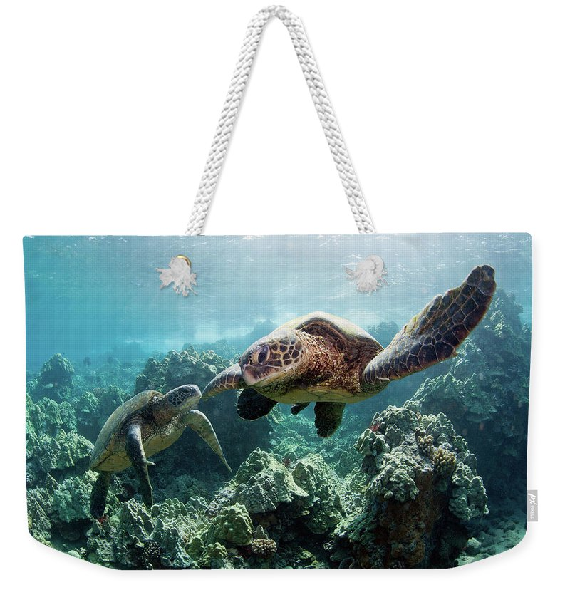 Underwater Weekender Tote Bag featuring the photograph Sea Turtles by M Swiet Productions
