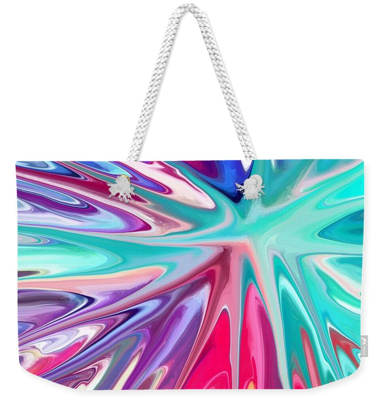 Colourful Abstract Weekender Tote Bag featuring the digital art Sea Urchin by Chris Butler