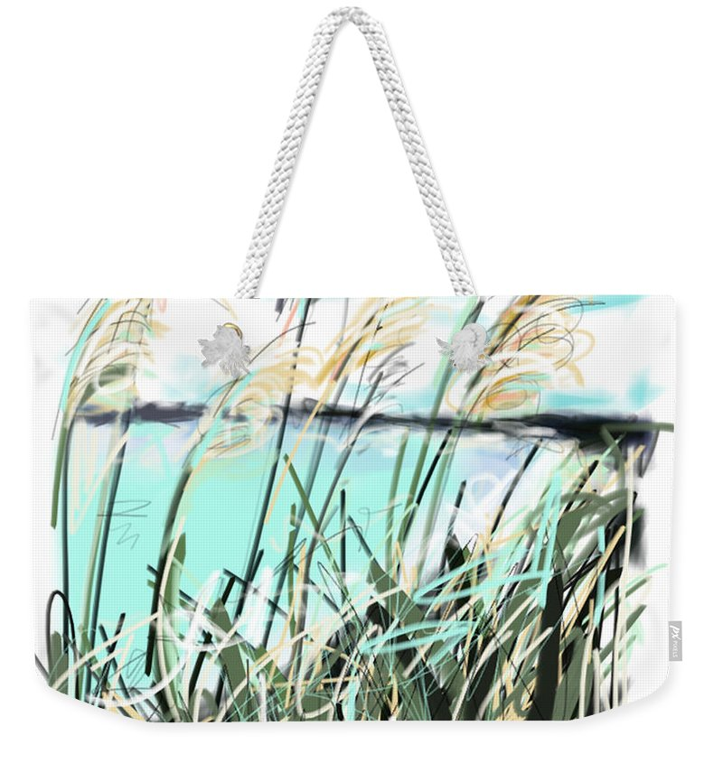 Sea Weekender Tote Bag featuring the painting Sea View by Go Van Kampen