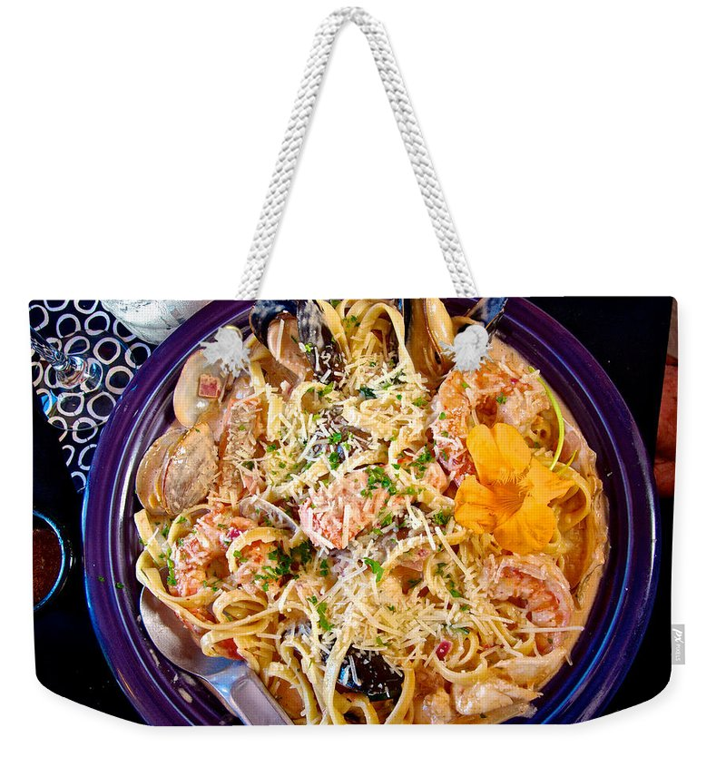 Seafood Fetticinni Alfredo Weekender Tote Bag featuring the photograph Seafood Fetticinni Alfredo At Cafe Cups Restaurant In Homer-ak  by Ruth Hager