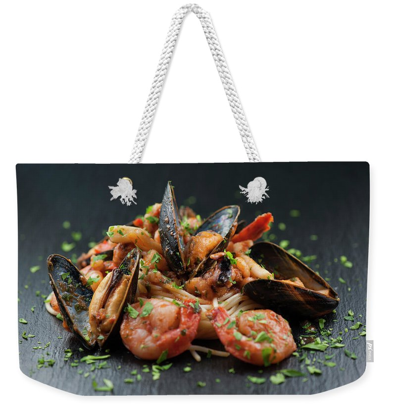 Prawn Weekender Tote Bag featuring the photograph Seafood Pasta by Cbording