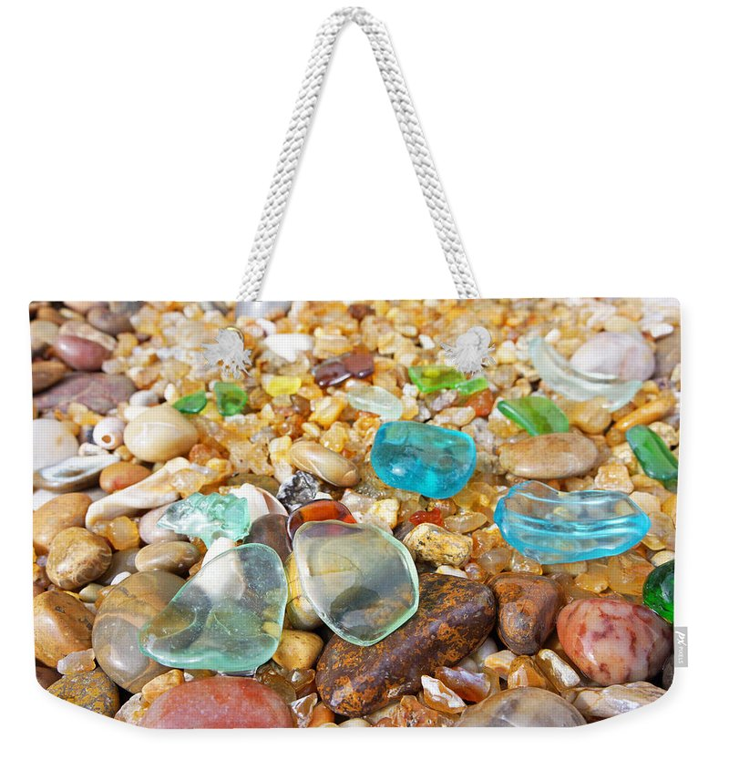 Decorative Weekender Tote Bag featuring the photograph Seaglass Coastal Beach Rock Garden Agates by Patti Baslee