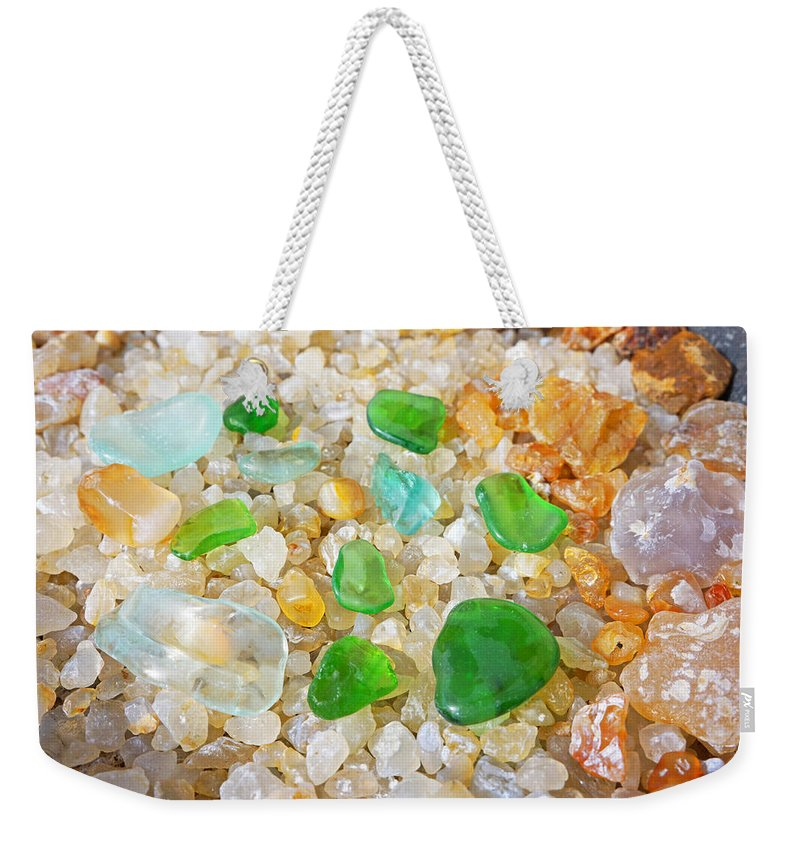 Decorative Weekender Tote Bag featuring the photograph Seaglass Green Art Prints Agates Beach Garden by Patti Baslee