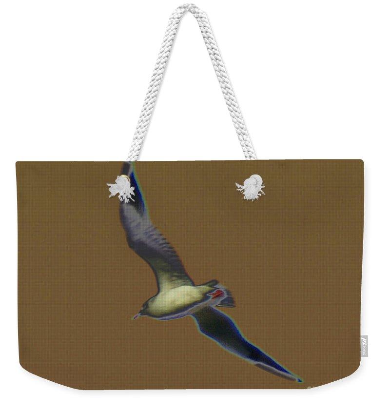 Bird Weekender Tote Bag featuring the digital art Seagull by Carol Lynch