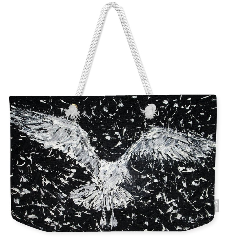Seagull Weekender Tote Bag featuring the painting Seagull - Oil Portrait by Fabrizio Cassetta