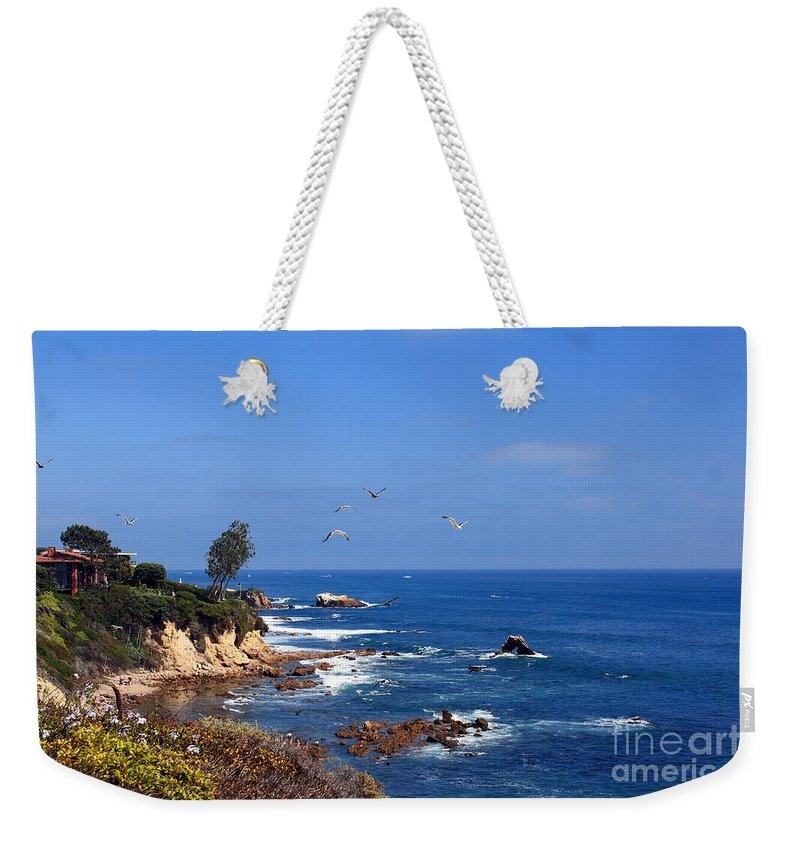 Seagulls Weekender Tote Bag featuring the photograph Seagulls At Laguna Beach by Kelly Holm