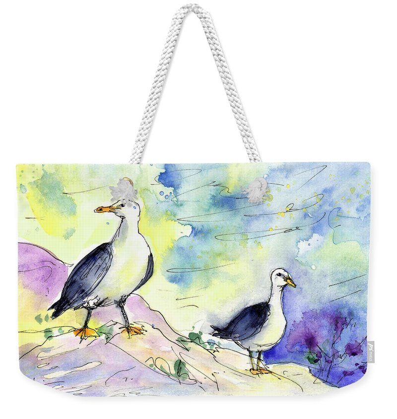 Travel Weekender Tote Bag featuring the painting Seagulls In Calpe In Spain by Miki De Goodaboom