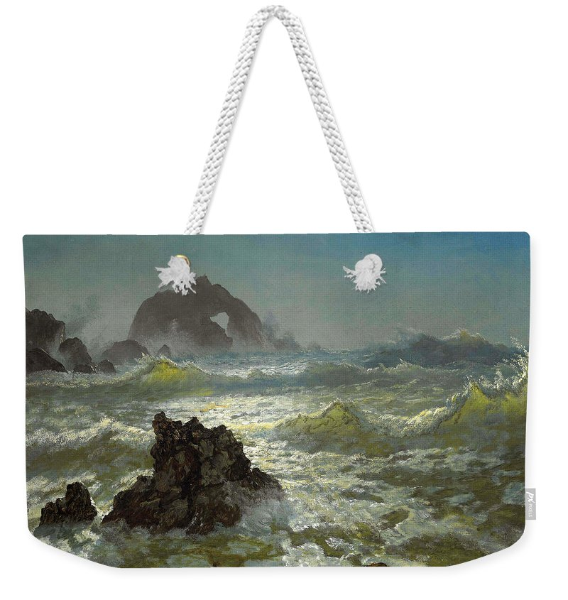Albert Bierstadt Weekender Tote Bag featuring the painting Seal Rock California by Albert Bierstadt