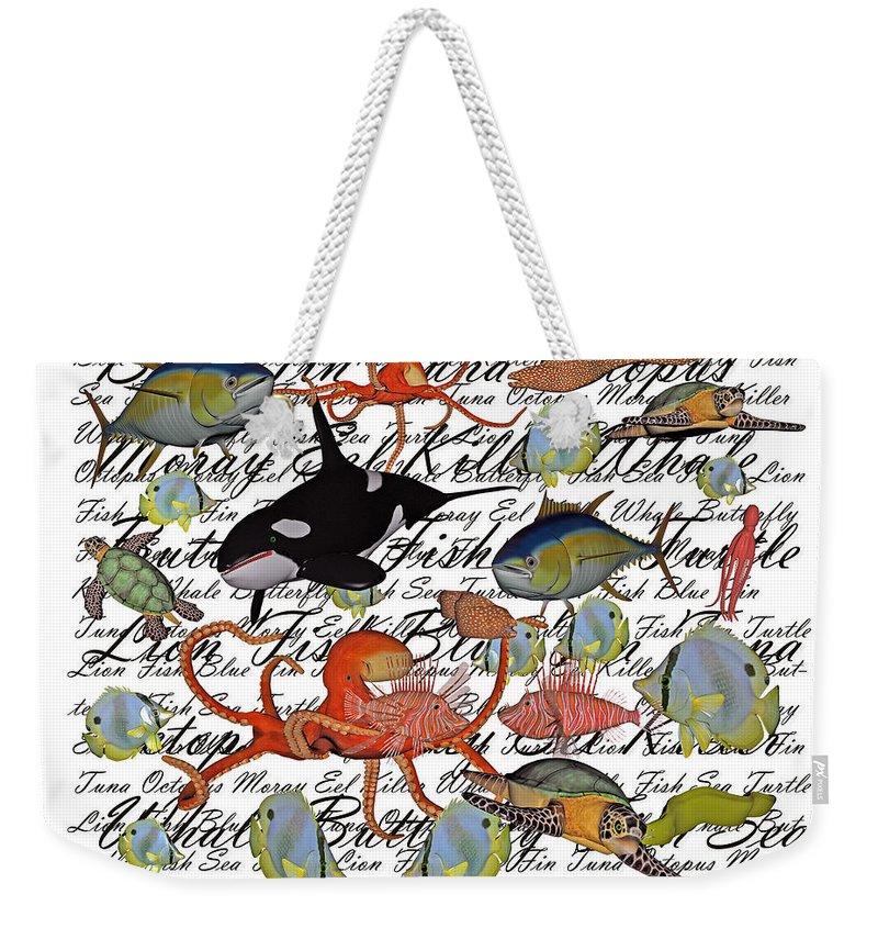 Sea Weekender Tote Bag featuring the digital art Sealife Dreamland IIi by Betsy Knapp