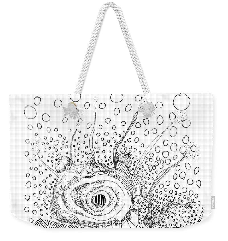 Sea Slug Weekender Tote Bag featuring the drawing Sealife Smoooch by Regina Valluzzi