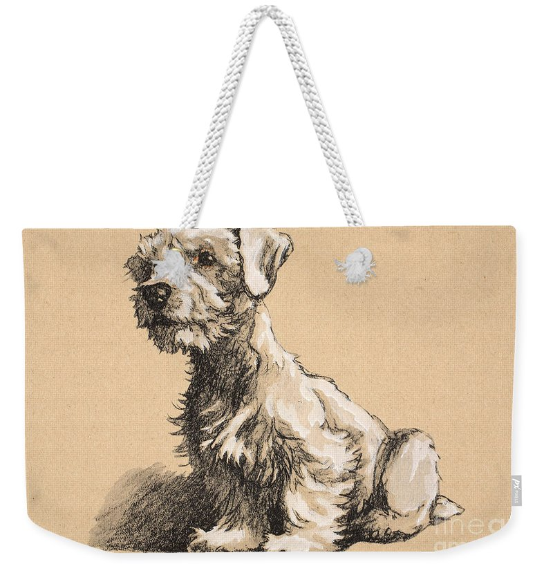 Sealyham Weekender Tote Bag featuring the pastel Sealyham by Cecil Charles Windsor Aldin