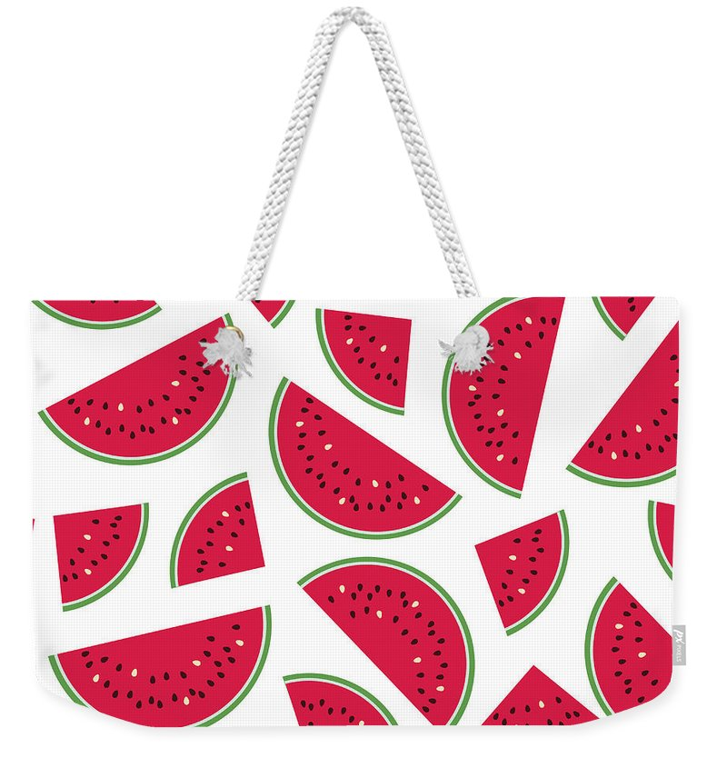 Art Weekender Tote Bag featuring the digital art Seamless Colorful Pattern With Red by Ekaterina Bedoeva