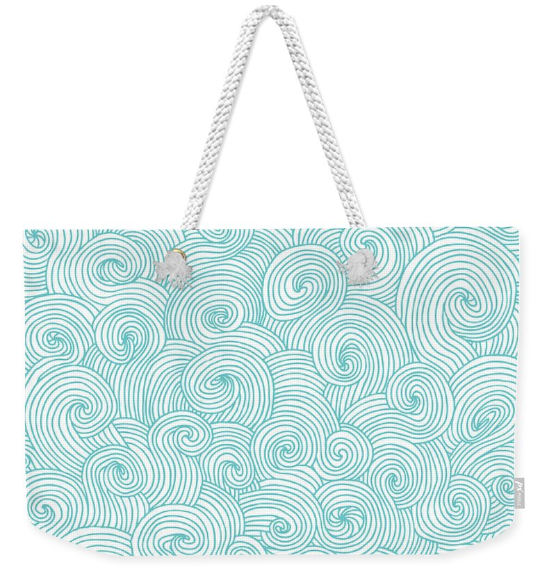 Curve Weekender Tote Bag featuring the digital art Seamless Pattern Of Doodle Swirls And by Beastfromeast