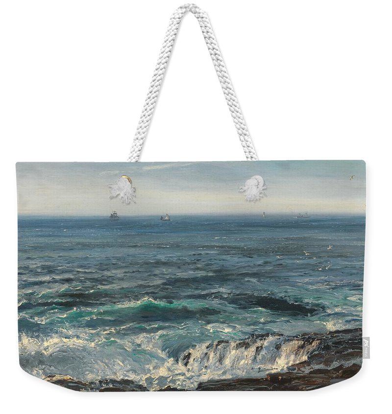 Seascape; Sea; Water; Coast; Coastal; Rocks; Rocky; Wave; Waves; Foam; Boat; Boats; Ship; Ships Weekender Tote Bag featuring the painting Seascape 1877 by Henry Moore